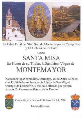 Cultos en honor a la Virgen de Montemayor